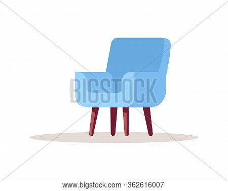 Blue Comfy Armchair Semi Flat Rgb Color Vector Illustration. Comfortable Scandinavian Chair For Livi
