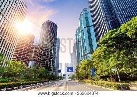 Modern Skyscrapers In The Sky Background, Qianjiang New Town, Hangzhou, China.