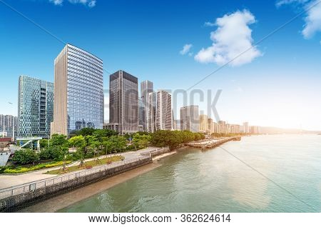 Modern City Buildings And City Skyline In Fuzhou, China