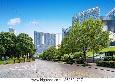 Square And Modern Buildings, Qianjiang New Town, Hangzhou, China.