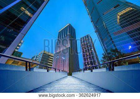 Night View Of Modern Buildings, Jinan, Shandong, China.
