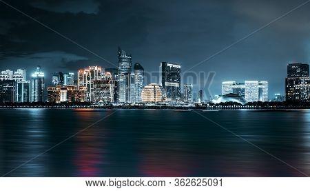 Modern City Skyline In Qiantang River New Town, Hangzhou, China