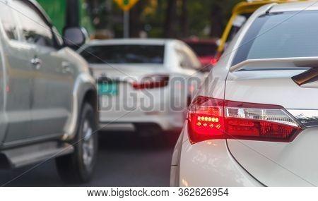 Traffic Jams In Bangkok City - Row Of Cars On The Bad Traffic