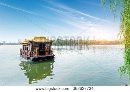 Antique Cruise Ship In Daming Lake, Jinan, China.
