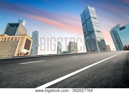 Highway Leading To The City, Urban Fantasy Landscape, Exaggerated Expression.