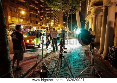 Behind The Scenes Of A Television Advert Film Set On Location In City Neighbourhood