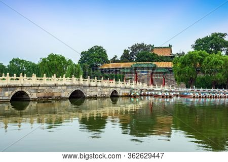 Seventeen Hole Bridge In The Summer Palace Of Beijing, An Example Of Classical Chinese Architectural