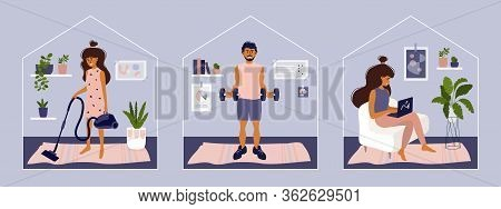 Stay Or Work From Home. Girl Doing Housework, Working On Laptop. Man Does Exercise. Gym, Sport, Fitn