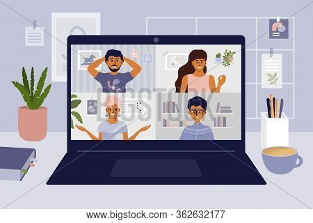 Stay And Work From Home. Video Conference Illustration. Workplace, Laptop Screen, Group Of People Ta