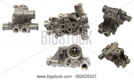 Aluminium Die Casting Product  With Machining Process ; Industrial Background  ; Isolated White Back