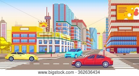 City Downtown Street With Vehicles. Transportation In Town With Skyscrapers And Modern Buildings. Ur