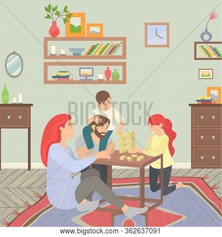 Happy Family Of Parents And Children At Home On Floor Playing Games. They Sitting On Carpet And Play