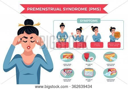 Pms Woman Infographics With Different Symptoms Stress Moody Abdominal Pain Appetite Changes Par Exam