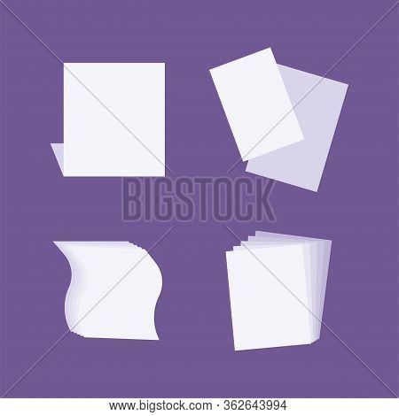 Blank Sheets Mock Up. Sheets For A Folder. Sheets In Different Angles. Flat Design. Vector Illustrat