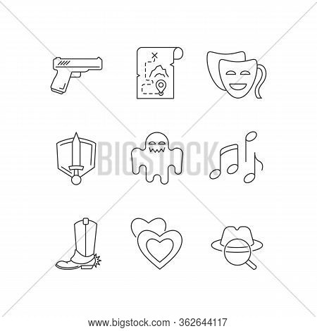 Different Movie Styles And Genres Pixel Perfect Linear Icons Set. Media Entertainment Industry Custo