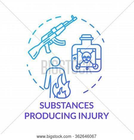 Substances Producing Injury, Gun Types Concept Icon. Poison And Toxic Liquid Fatal Effect, Gunshot W