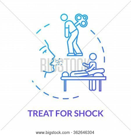 Shock Treatment Concept Icon. Injury First Aid, Therapy Step, Rehabilitation. Physiotherapy, Organis