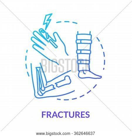 Fracture, Bone Fragility Concept Icon. Orthopedy, Traumatism, Human Skeleton Injury, Hand Trauma, Ca