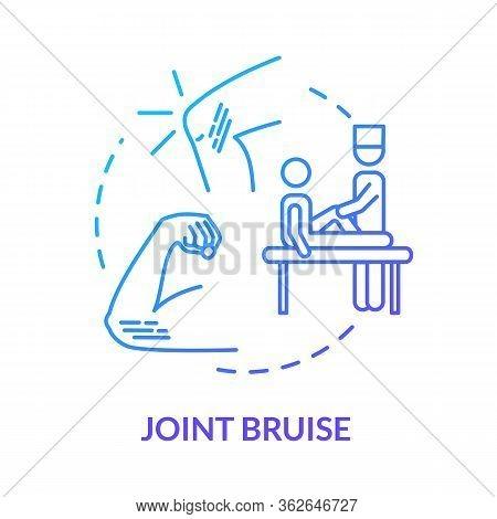 Joint Bruise, Hematoma, Traumatism Concept Icon. Body Part Contusion, Limb Trauma, Patient Examinati