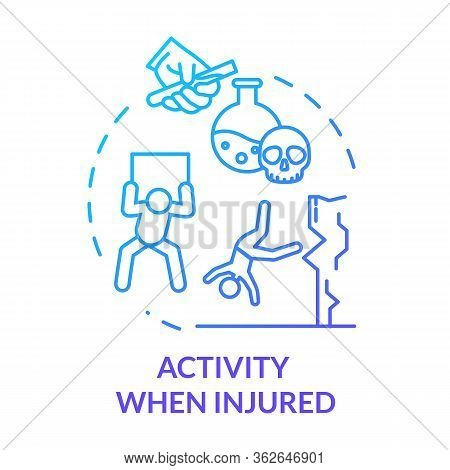 Activity When Injured, Unsafe Work And Sport Concept Icon. Adverse Working Conditions, Incaution, Su