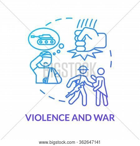 Violence And War, Military Injuries Concept Icon. Intrusion, Sovereignty Violation, Armed Conflict,