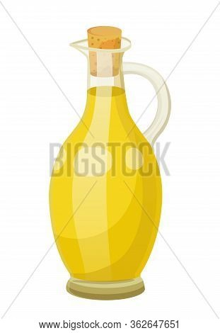 Glass Bottle Closed With Bung With Golden Liquid Inside. Vessel With Viscous Purified Substance Used