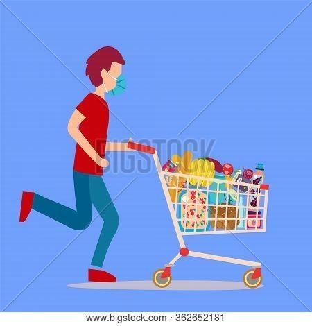 A Man Wearing Surgical Mask Pushing Supermarket Shopping Cart Full Of Groceries. Shopping Cart Full