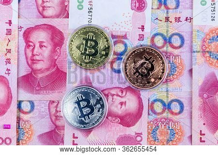 Bitcoin New Virtual Money And Banknotes Yuan Background .bitcoin With Chinese Banknotes Crypto Curre