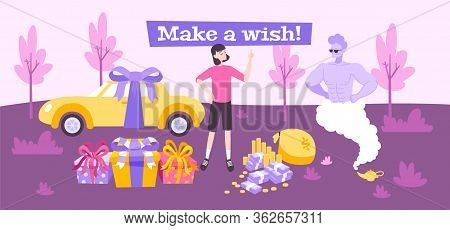 Ginn Wish Flat Composition With Doodle Style Characters Of Miracle Man With Woman And Various Gifts