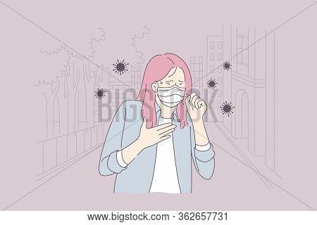 Biohazard, Health, Infection Coronavirus Concept. Young Sick Ill Woman Or Girl Cartoon Character In