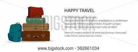 Banner With Retro Colored Suitcases And Travel Bag And Backpack , Luggage Bags For Traveling, Travel