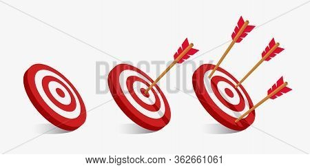 Simple Flat Minimalist Arrow And Target Illustration. Archery Targets With A Variety Of Shots. The A