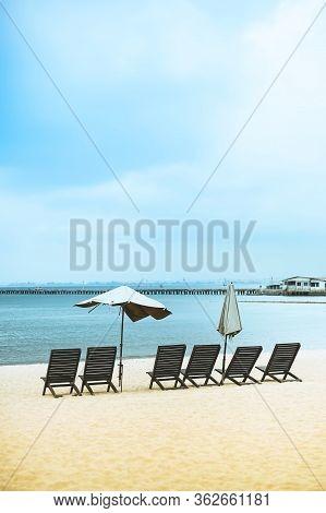Beach Chairs On Sand Beach In Pattaya, Chonburi, Thailand.
