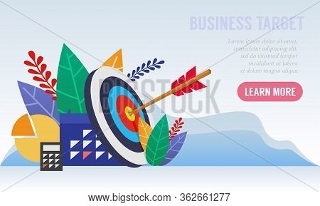 Illustration Of A Business Target With An Arrow Hit The Center Aim. Business Strategies That Are Rig