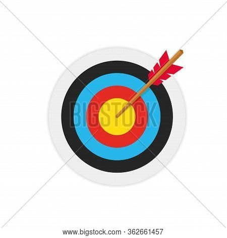 Simple Flat Minimalist Archery Target With Arrow Hit The Center Aim. Illustration Of Goal Success Bu