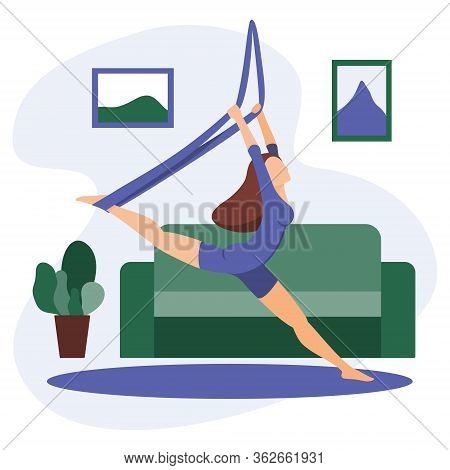 Vector Illustration Of A Slim Girl Practicing Air Yoga At Home During Lockdown. Home Fitness. Aero Y