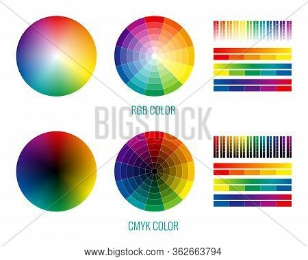 Cmyk Rgb Spectrum Rainbow Set With Isolated Round And Stripe Palettes For Color Selection Graphic De