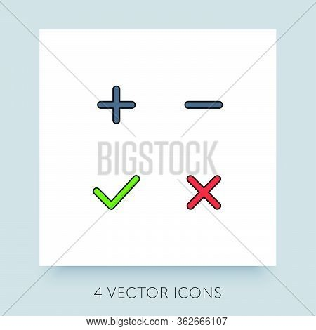 Flat Icons Simple Collection For Accepted - Rejected, Approved - Disapproved, Yes - No, Right - Wron