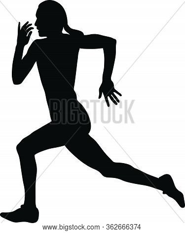 Female Runner Sprinter Run Black Silhouette Vector