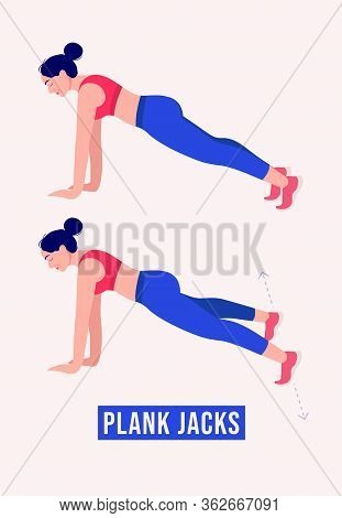 Girl Doing Plank-jacks Exercise, Woman Workout Fitness, Aerobic And Exercises. Vector Illustration.