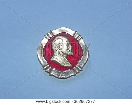 Ussr - Circa 1972: Metal Badge With The Image Of Vladimir Lenin (ulyanov, 1870-1924) From The Series