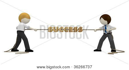 3D Business Man Playing Tug Of War