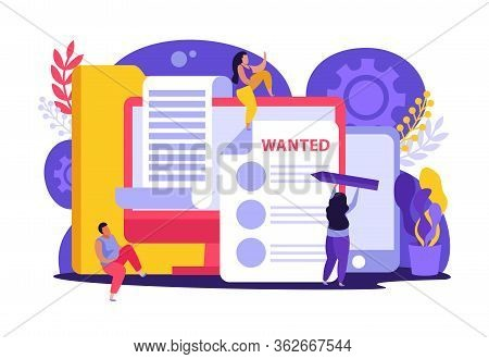 Employment Service And Employment Documents Flat Composition Of Doodle Style Characters Gadgets Fold