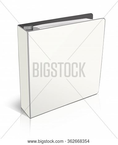 Empty Office Folders Binder. Illustration 3d Rendering. Isolated On White Background.