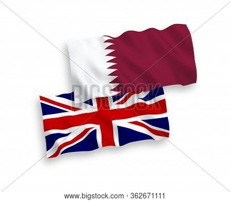 National Fabric Wave Flags Of Great Britain And Qatar Isolated On White Background. 1 To 2 Proportio