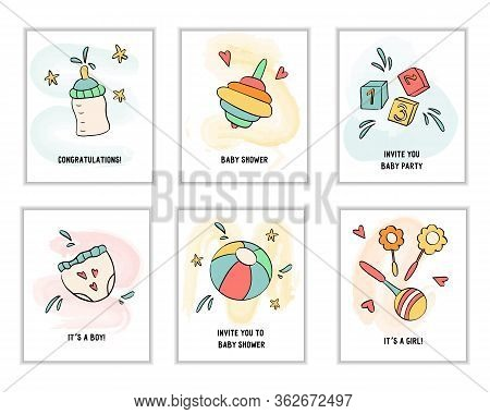 Set Of Baby Cards For Birthday Party Or Baby Shower Celebration.happy Birthday, Infant Day, Mother D