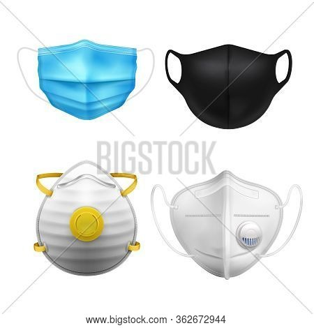 Individual Protective Medial Masks N95 Realistic Icon Set With Different Degrees Of Protection And C