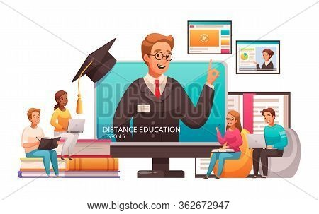 Distant Learning Online Education Lessons Advertising Cartoon Composition With Popping Out Screen Tu