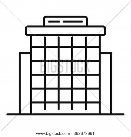 Glass Exhibition Center Icon. Outline Glass Exhibition Center Vector Icon For Web Design Isolated On