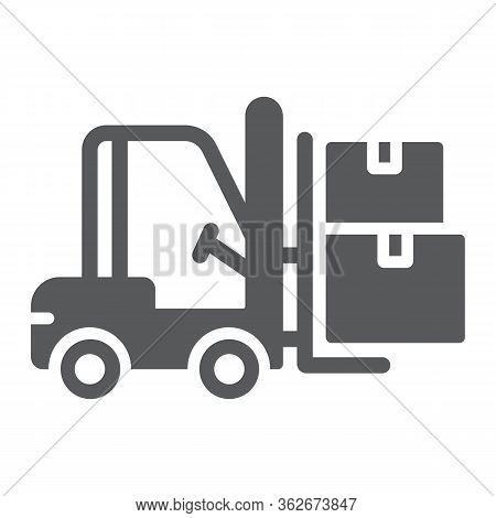 Forklift Truck Glyph Icon, Logistic And Delivery, Bendi Truck With Boxes Sign Vector Graphics, A Sol